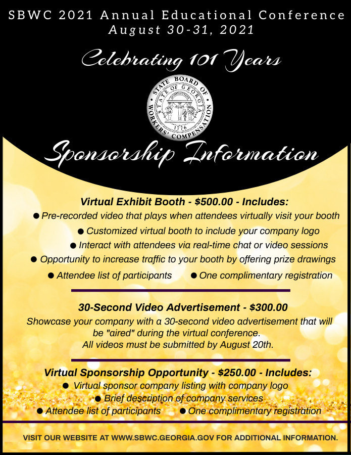 SBWC 2021 Annual Educational Conference Sponsorship Information